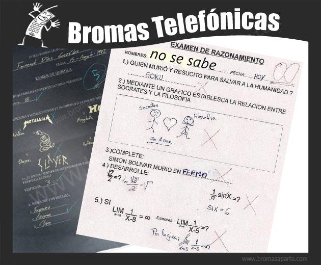 BromasAparte.com - Broma Telefónica respuesta de exámenes
