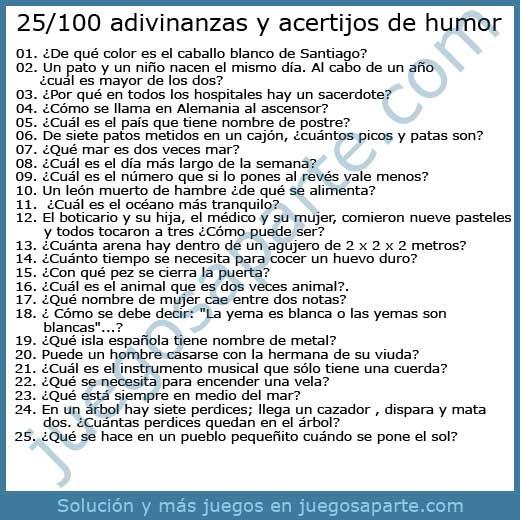 25-100 Adivinanzas y acertijos de humor