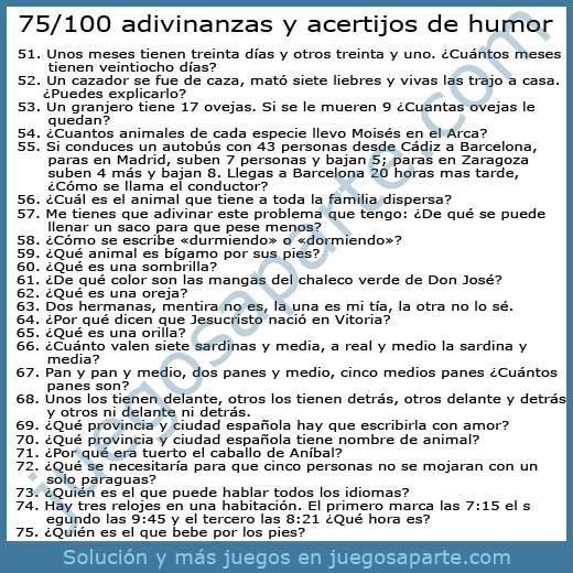 75-100 Adivinanzas y acertijos de humor