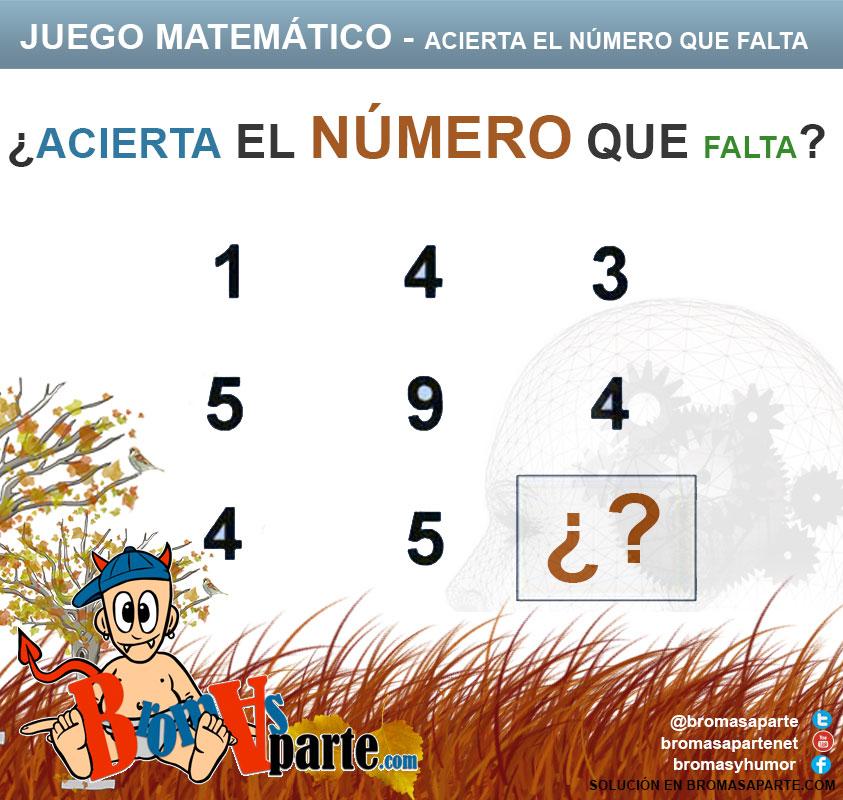 juego matemático acierta el numero que falta